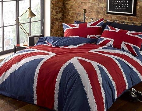 Rock N Roll Funky Union Jack British Uk Blau Rot Weiß Doppel