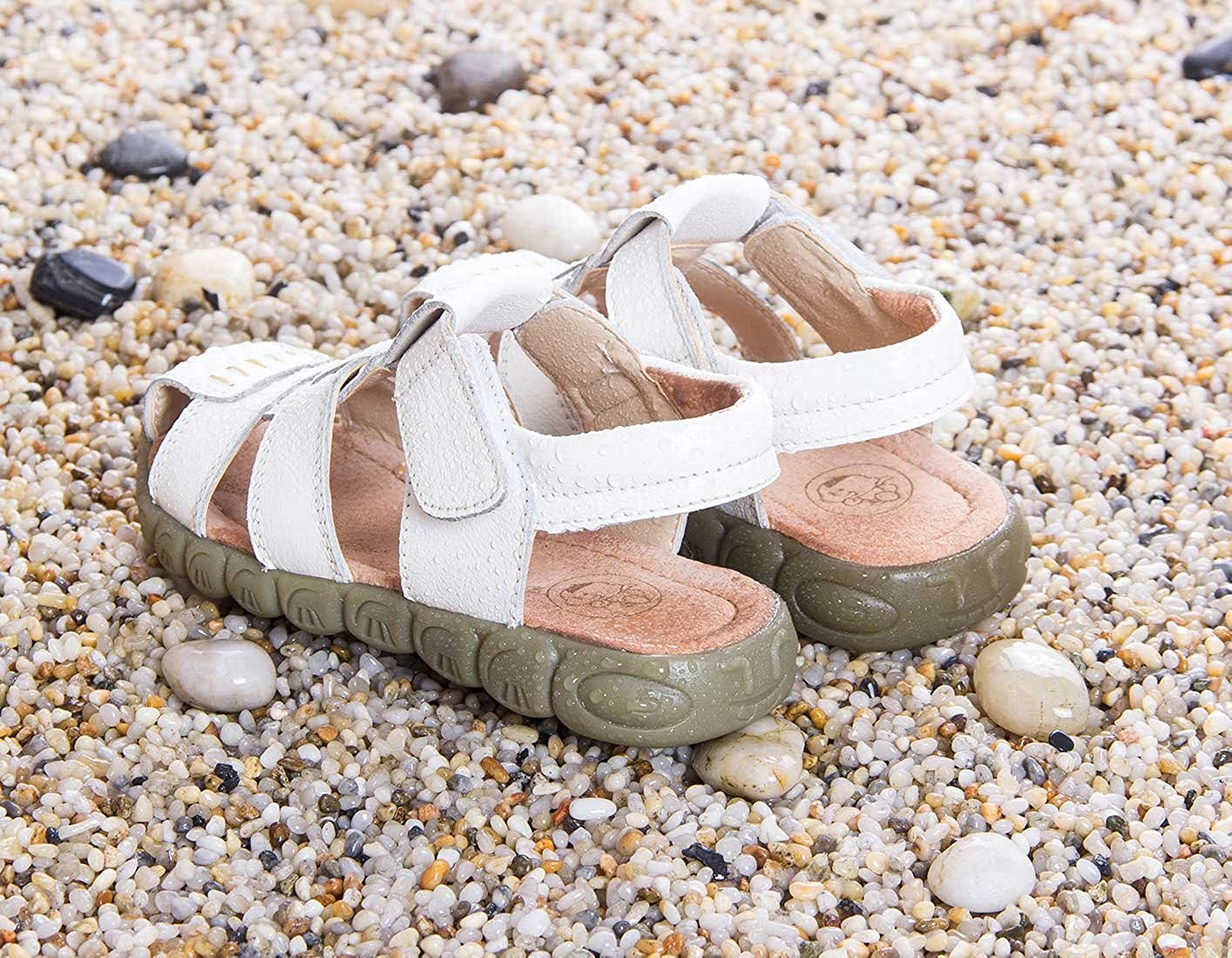 Happy Cherry Unisex Baby Toddler 100/% Leather Anti-Slip Closed Toe Oxford Sole Outdoor Sandal Shoes Brown
