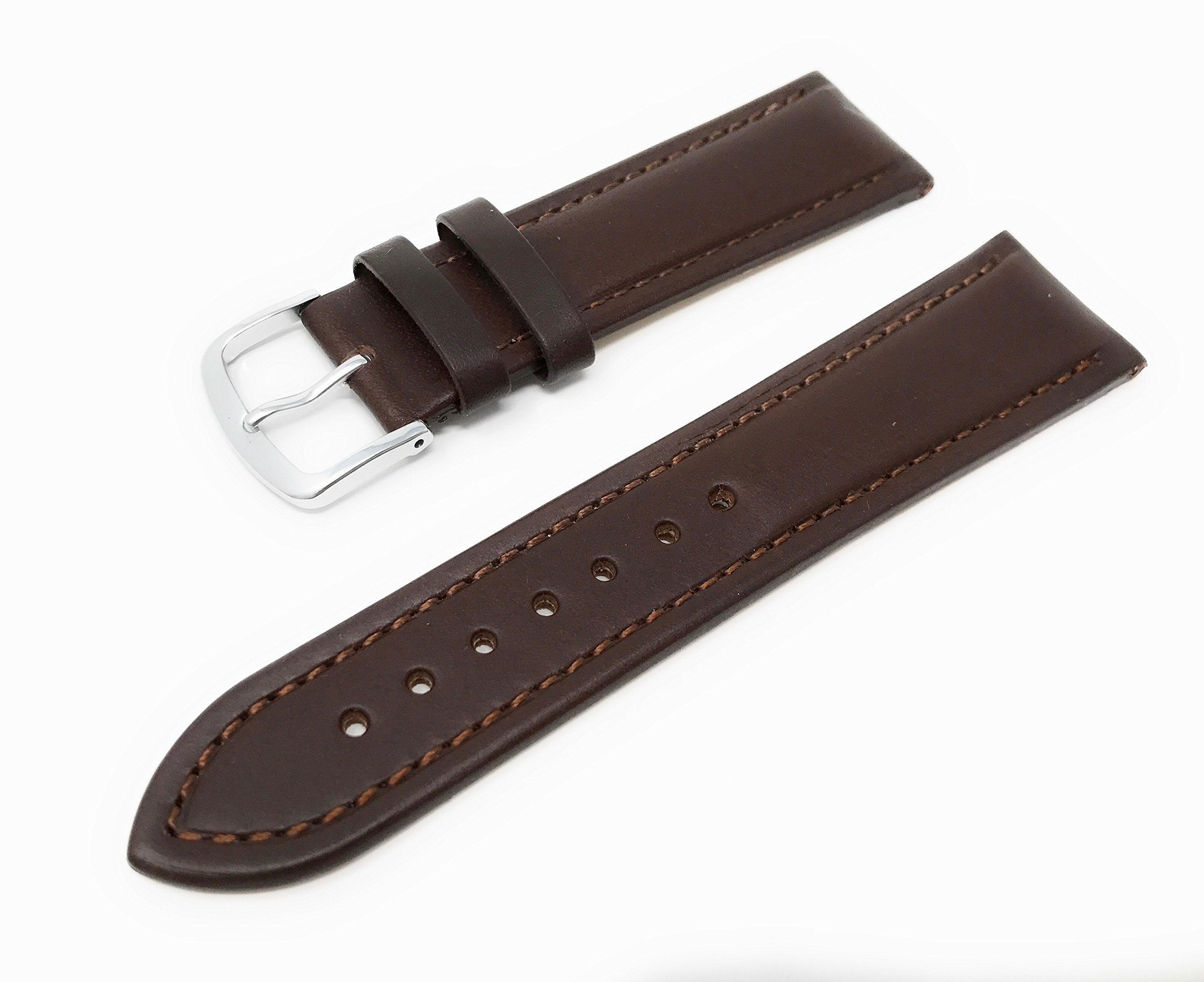 Mens Genuine Italian Leather Watchband Chronograph Style Brown 19mm Watch Band - by JP Leatherworks