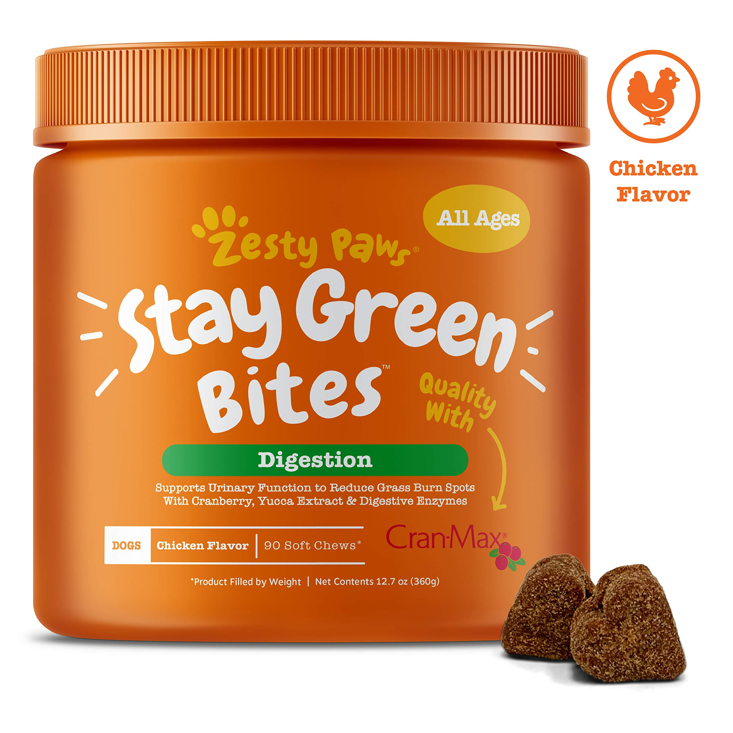 Zesty Paws Stay Green Bites for Dogs - Grass Burn Soft Chews for Lawn Spots Caused by Dog Urine - Cran-Max Cranberry for Urinary Tract & Bladder - with Apple Cider Vinegar + Digestive Enzymes - 90 Ct by Zesty Paws
