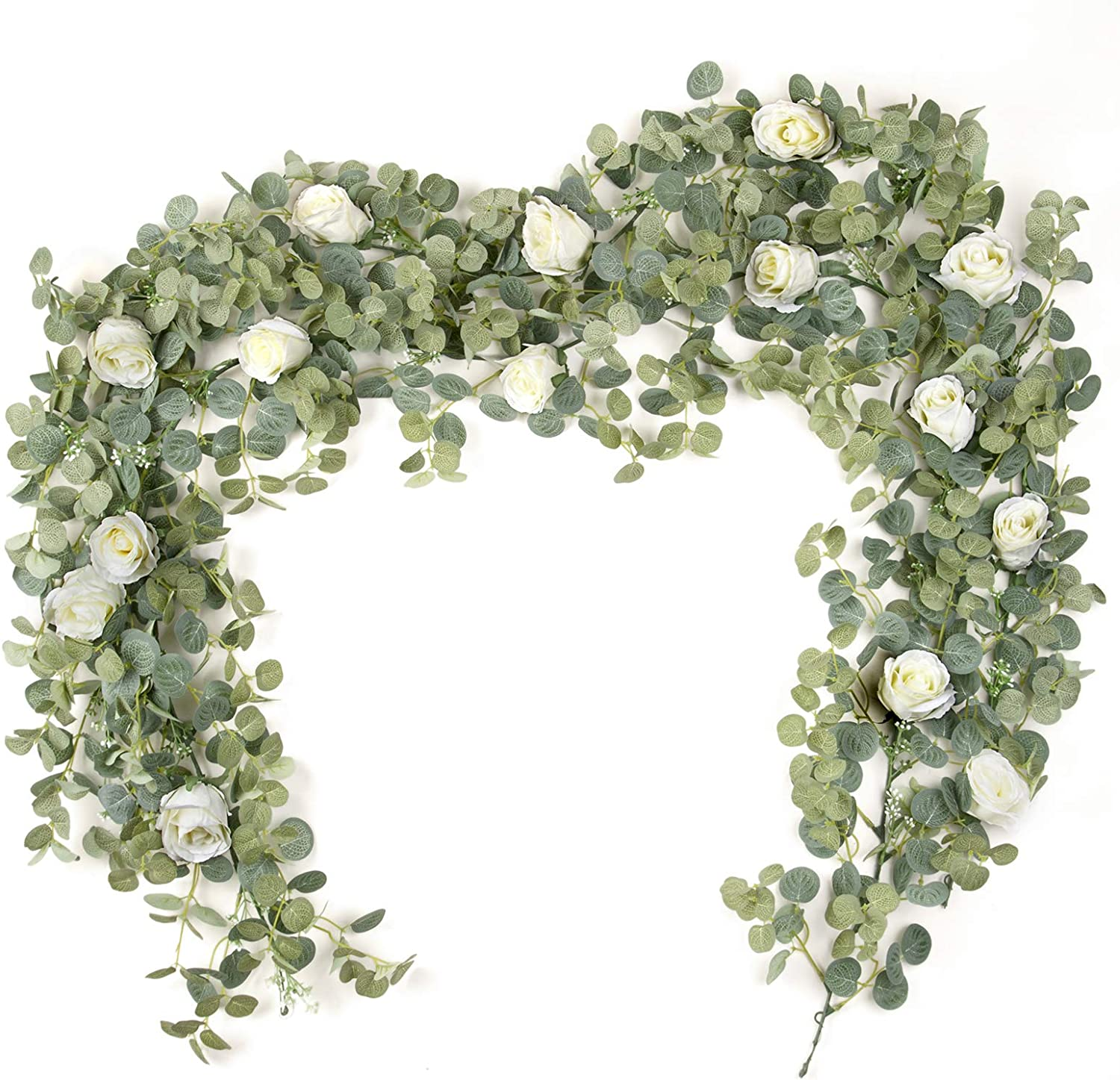 ZIFTY 2-Pcs 5.9FT Artificial Eucalyptus Garland with Flower Fake Greenery Vines and Leaves for Arch Arrangement Table Runner Wedding Floral Backdrop Wall Decor (Rose)