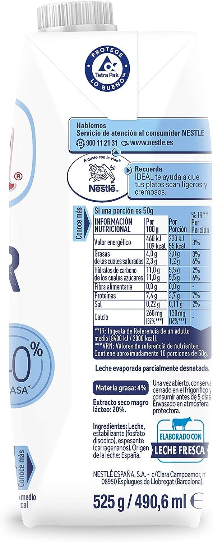 Nestlé Ideal - Leche evaporada semidesnatada - Caja de leche evaporada 12 x 500 ml (525g)