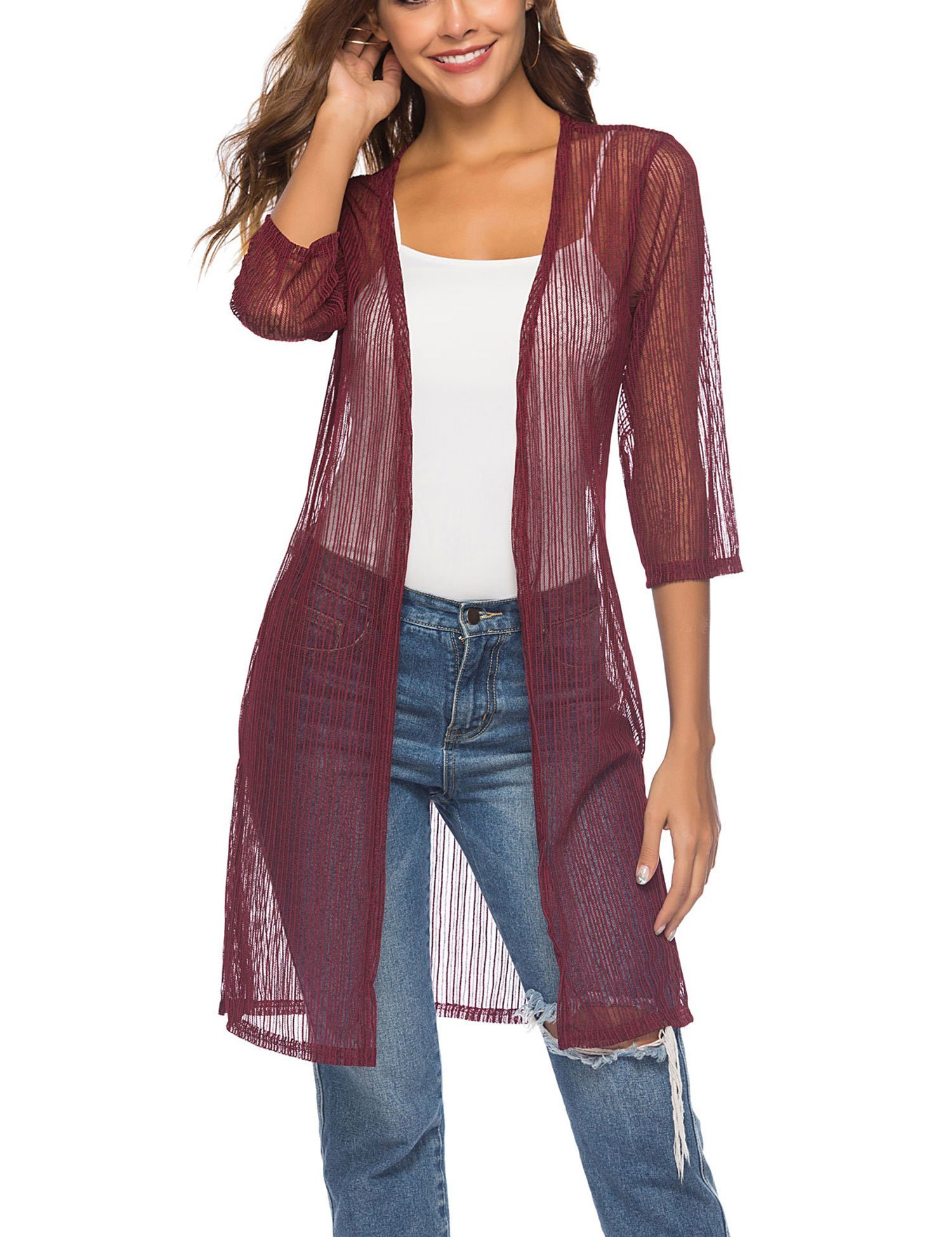 Sheroin Women's Casual Lace Crochet Cardigan 3 4 Sleeve Sheer Cover up Jacket Plus Size (Wine Red M)