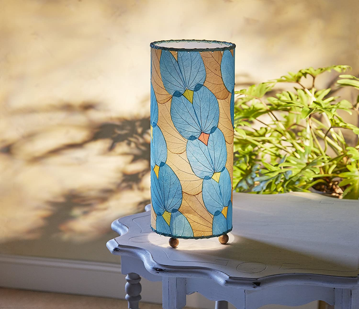 Eangee Home Design Butterfly Table Lamp Sea Blue - Shade Made From Real Alibangbang Leaves (479 sb)
