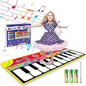"""Renfox Kids Musical Piano Mats - Dance & Learn Keyboard Play Mat with 8 Musical Instrument Sound, 5 Play Modes, Early Educational Toy Gift for 2 3 4+ Years Old Boys Girls kids Toddlers (58"""" x 24"""")"""