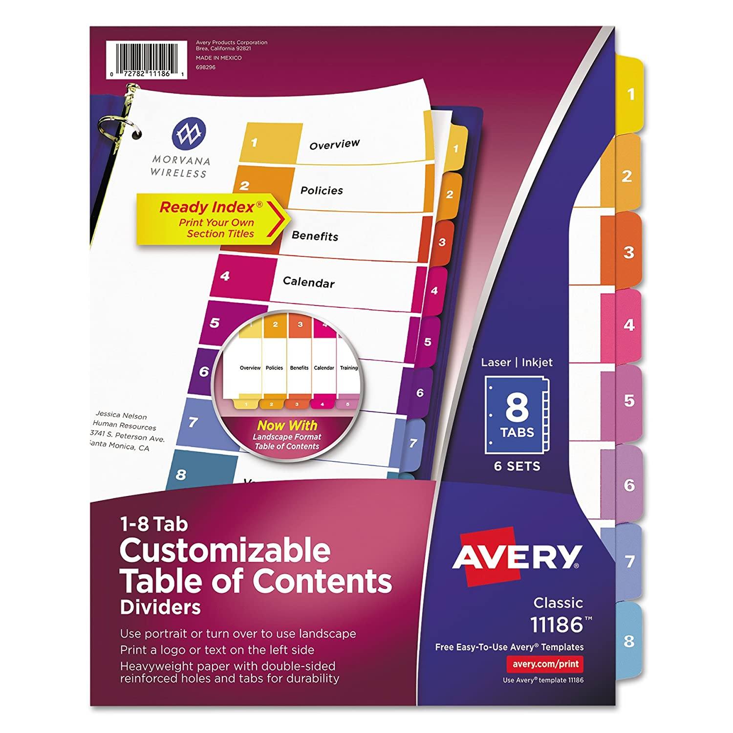 Amazoncom Avery Ready Index Table Of Contents Dividers Tab Set - 8 tab divider template