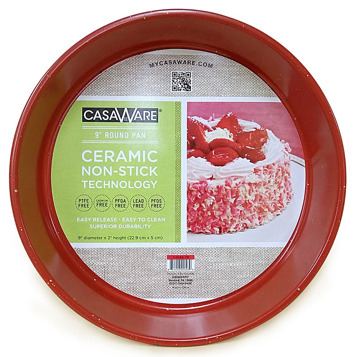 casaWare Ceramic Coated NonStick 9-Inch Round Pan, Red Granite