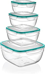 PlastArt 305 Fresh Box Square Combi Set, Food Storage Container Set in Assorted Shapes, 8-Piece, Clear