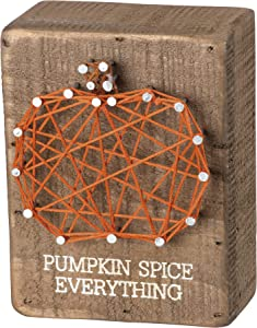 Primitives by Kathy String Art Slat Wood Box Sign, 3 x 4-Inch, Pumpkin Spice Everything