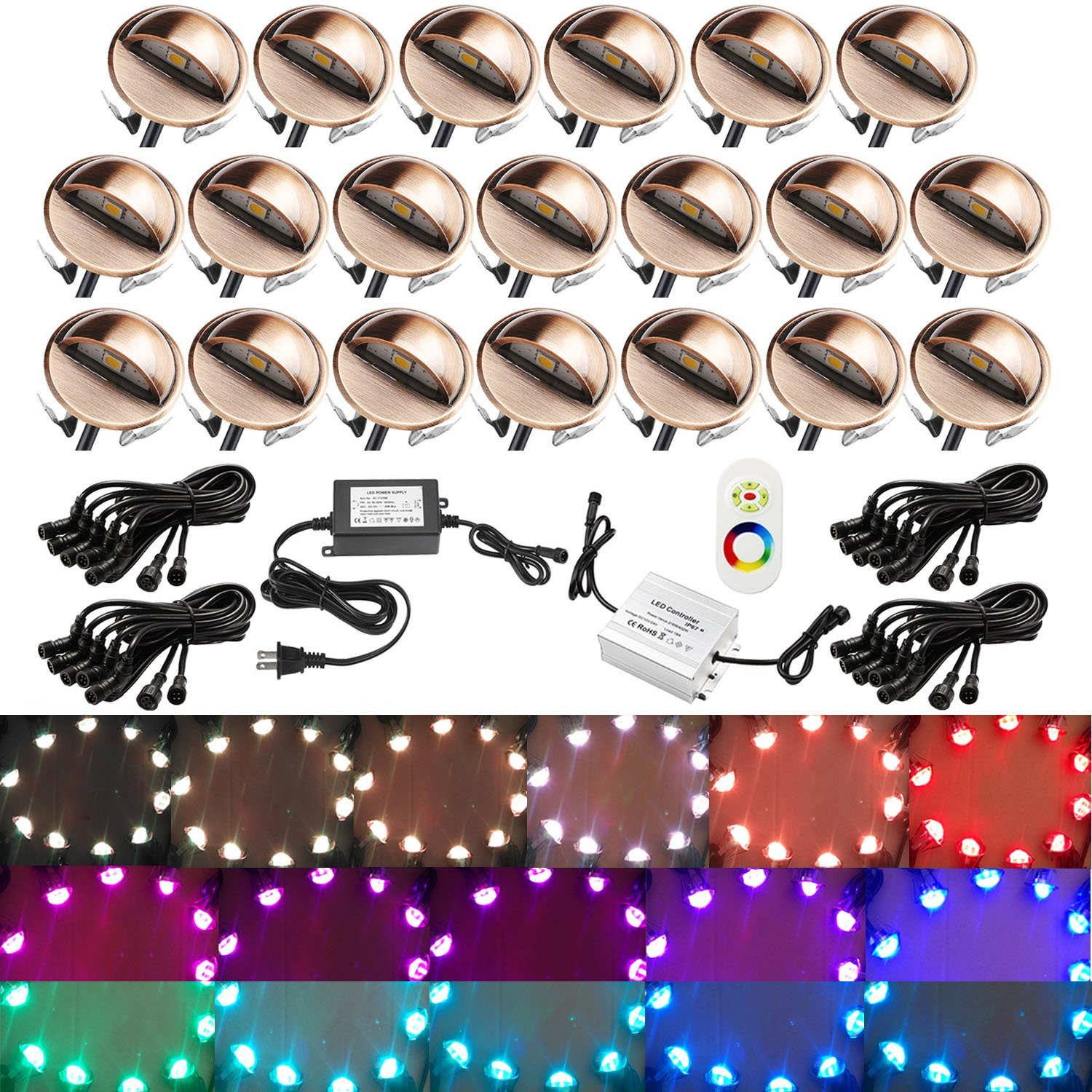 Deck Lighting, QACA Low Voltage Yard Lights DC12V 0.2W~0.4W IP67 Staircase Lamp for Garden,Steps,Stair,Patio,Floor,Pool Deck,Kitchen,Outdoor (20pcs, RGB) by QACA