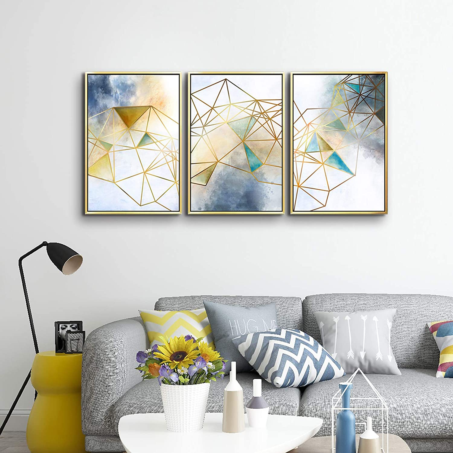 ARTLAND Geometric Wall Decor Abstract Canvas Wall Art Navy Blue Artwork for Bedroom Gallery Wrapped Canvas Giclee Print with White Golden Picture Framed for Living Room Home Decoration 24x48inch