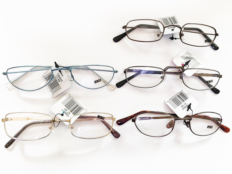 Amazon.com: 2.75+ Reading Glasses, 5 Pk Assorted Metal Frames ...
