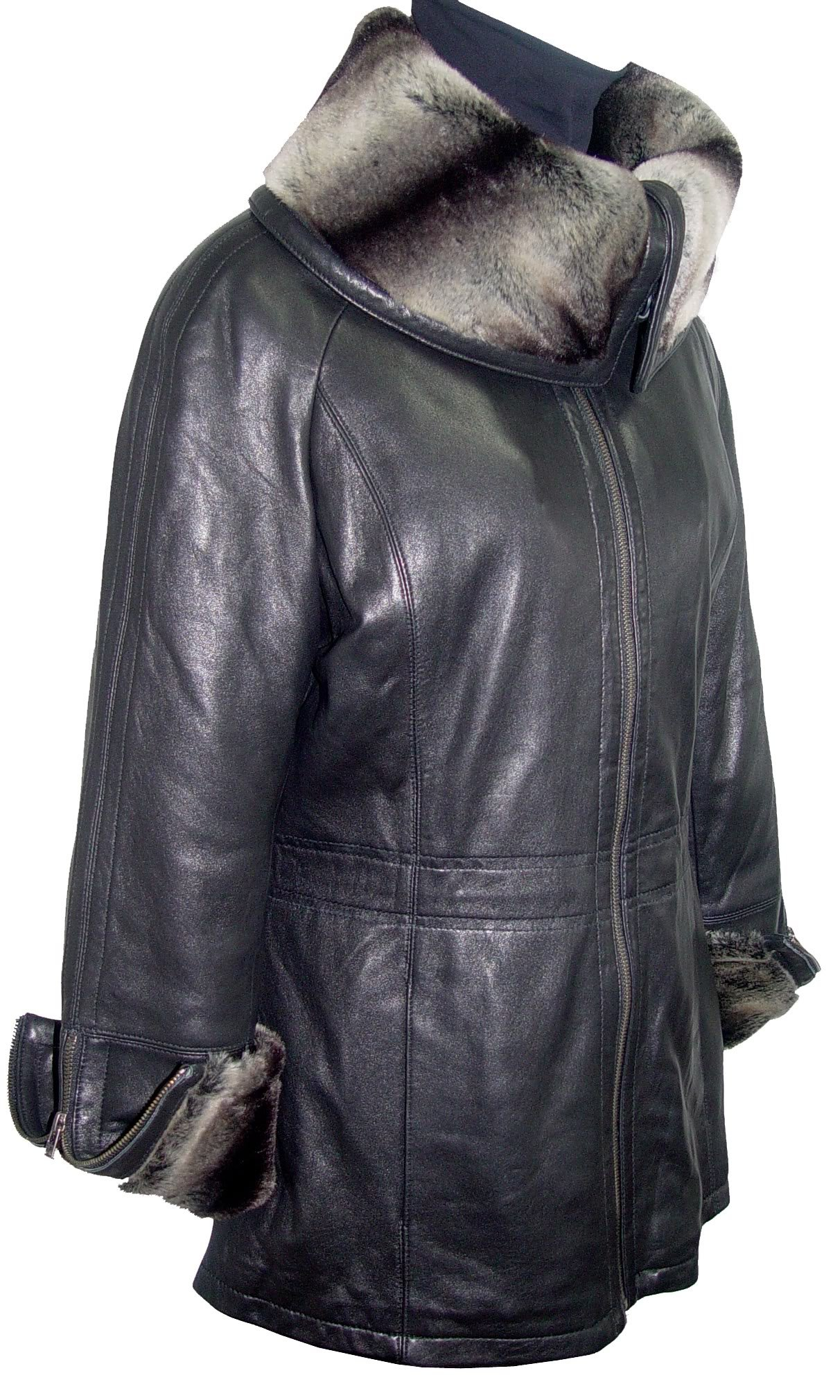 Paccilo 5008 Women Hooded Leather Coats Fake Fur The Parka Fine Soft Lamb