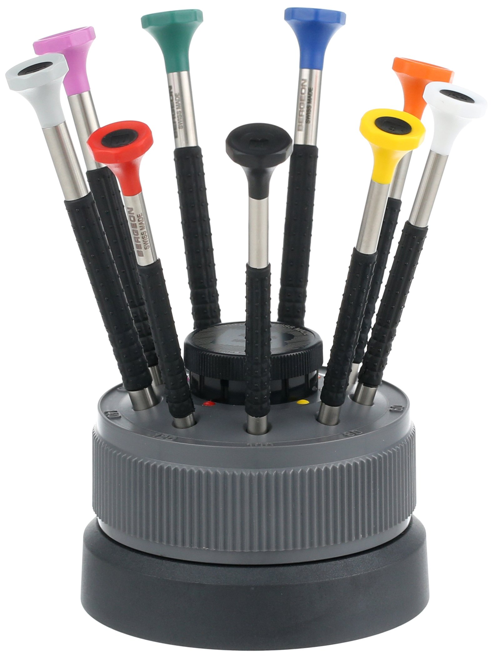 Bergeon 55-603 6899-S09 Rotating Stand with 9 Ergonomic Screwdrivers with Spare Blades Watch Repair Kit by Bergeon (Image #1)