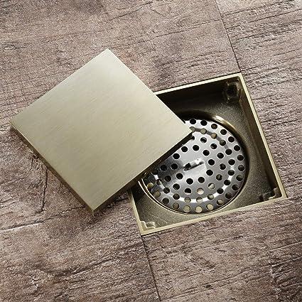 Wenwen Desagüe de Piso de Cobre, Desodorante, prevención de reflujo, Ducha, baño, Cocina, Drenaje de Piso Cuadrado, Dorado: Amazon.es: Jardín
