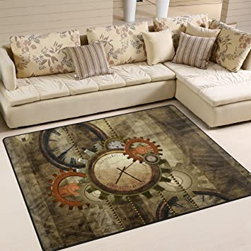 ALAZA Retro Steampunk Clocks And Gears Kids Area RugIndustrial Style Non Slip Floor