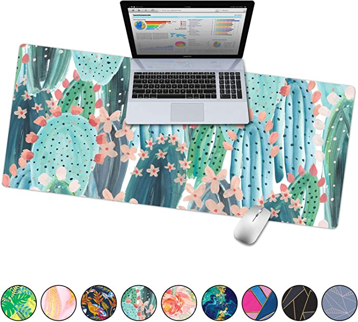 "French Koko Large Mouse Pad, Desk Mat, Keyboard Pad, Desktop Home Office School Cute Decor Big Extended Laptop Protector Computer Accessories Pretty Mousepad Women Girls XL 31""x15""(Cute Cactus)"