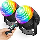 NEQUARE Party Lights DJ Disco Ball Strobe Light Disco Lights 7 Colors Sound Activated Stage Light with Remote Control for Kar