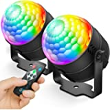 NEQUARE 2 Pack Party Lights Disco Ball Strobe Light Disco Lights 20 Colors Sound Activated Stage Light with Remote…