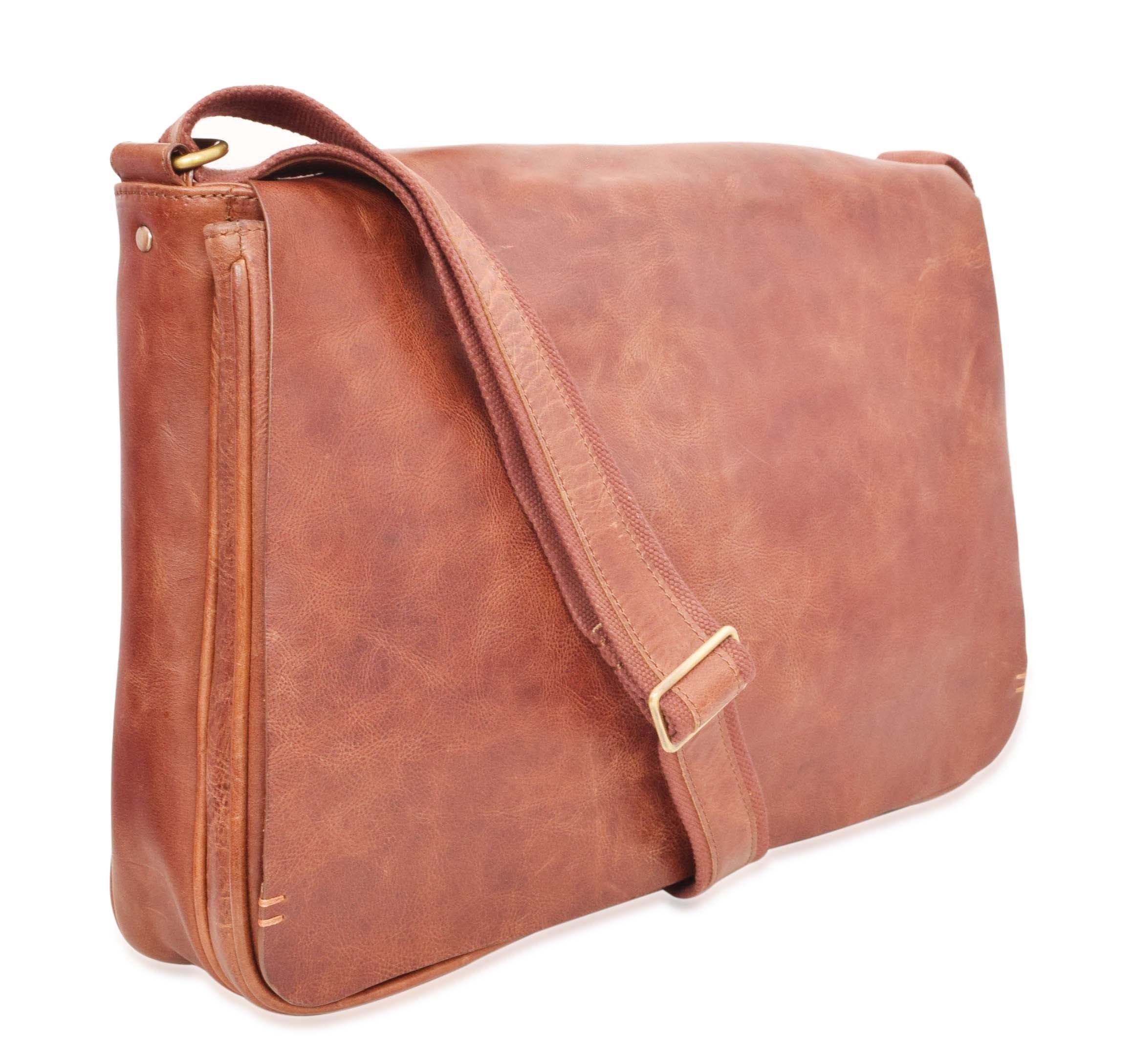 Men's Vintage Leather Messenger Bag With Laptop Sleeve 12H x 3.50D x 16W inches Cognac V-élan