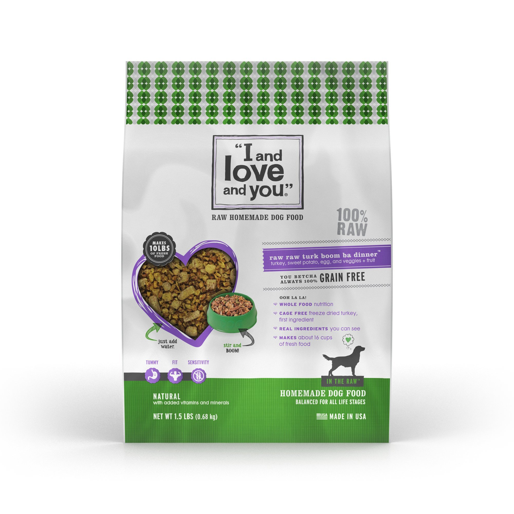 """I and love and you"""" In the Raw 'Raw Raw Turk Boom Ba' Homemade Freeze Dried, Grain Free Dehydrated Dog Food, 5.5 LB"""