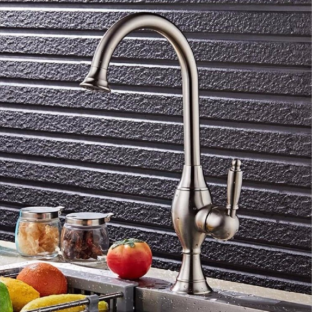 Commercial Single Lever Pull Down Kitchen Sink Faucet Brass Constructed Polished Brushed Faucet Hot and Cold European Kitchen Bathroom Dual-Use Basin Faucet Bathroom Single Hole Kitchen Faucet