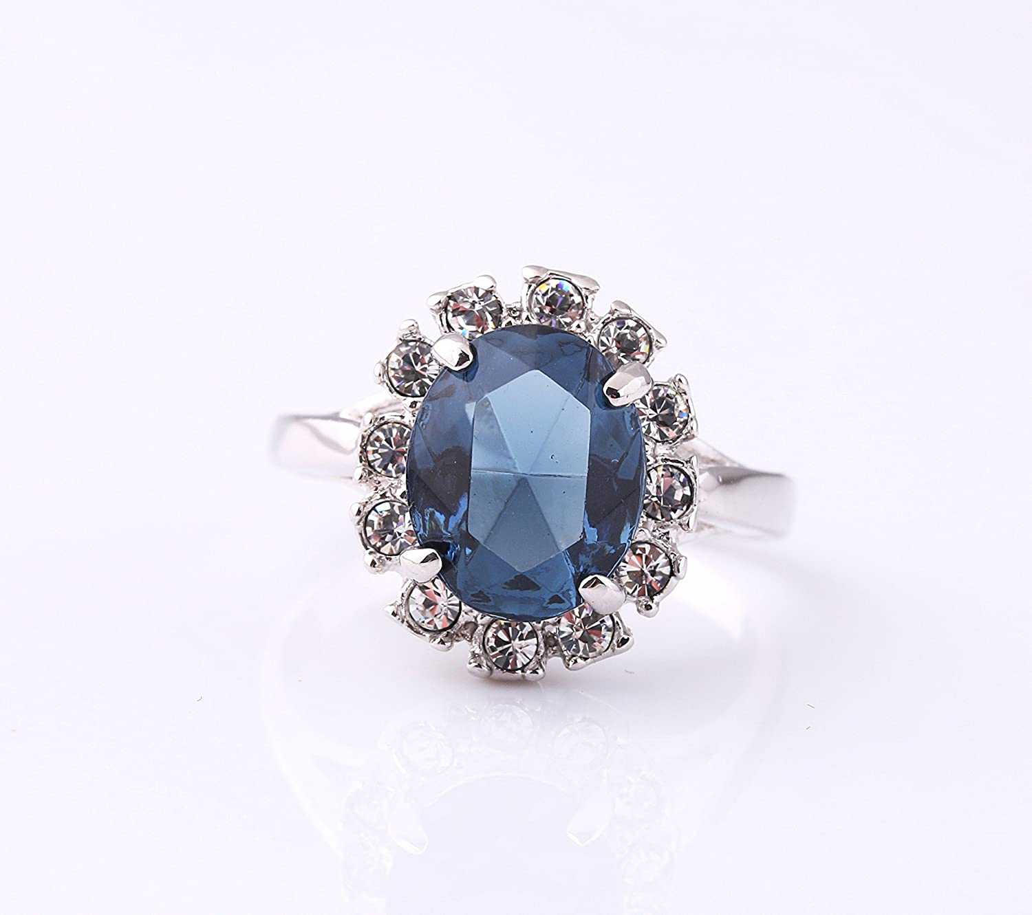 Acefeel 18k White Gold Plated Oval Blue Crystal Ring For Women Mothers Day Gift R090