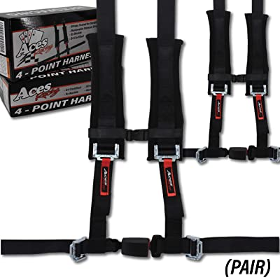 4 Point Harness with 2 Inch Padding (Ez Buckle Technology) (Black (Pair)): Automotive
