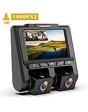 """TOGUARD Telecamera per Auto Dash Cam,Full HD 1080P+1080P 3"""" Schermo LCD con 340°Grandangolo Dashcam Auto, G-Sensor ,Registrazione in Loop,Monitor di Parcheggio e Rilevatore di Movimento"""
