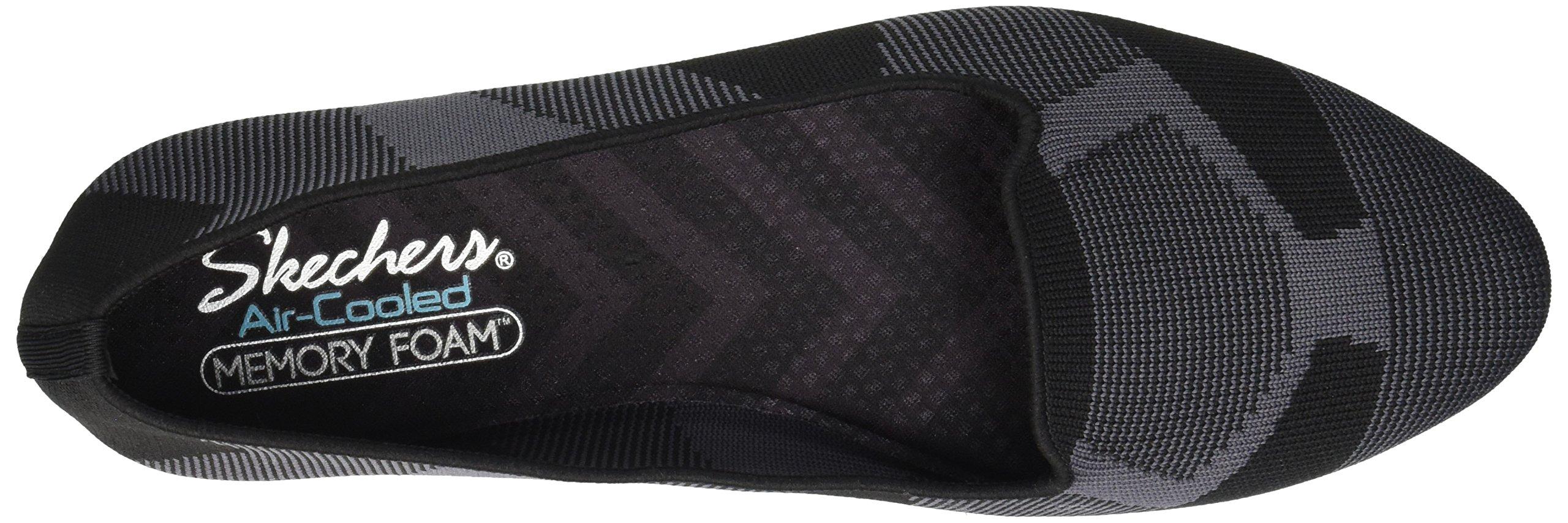 Skechers Women's Cleo-Sherlock-Engineered Knit Loafer Skimmer Ballet Flat, Black, 6.5 M US by Skechers (Image #7)