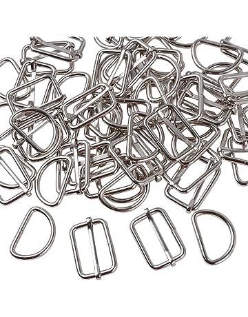 BETESSIN 60pz 25mm Fibbie Metallo - 30pz Anello D + 30pz Anelli  Rettangolari con Ardiglione Scorrevole 31a99470760