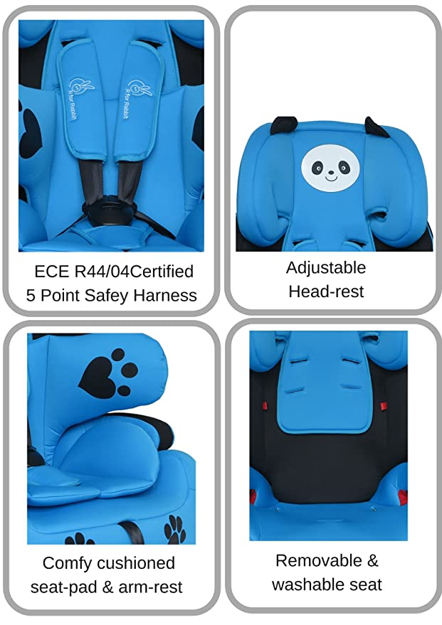 R for Rabbit Happy Panda - The Growing Baby Car Seat - Blue