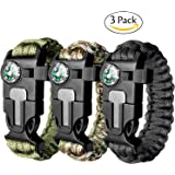 Attmu 3 Pack Paracord Survival Bracelet Outdoor Emergency Paracord Bracelet with Fire Starter Compass Whistle