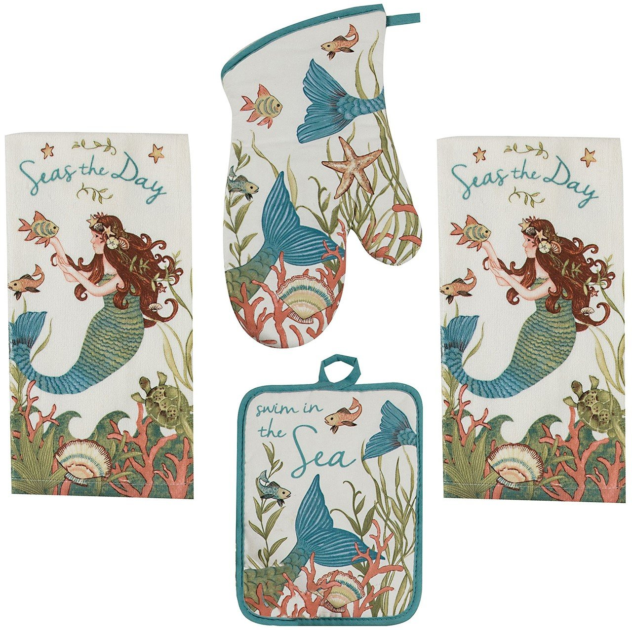 Kay Dee 4 Piece Kitchen Set - 2 Terry Towels, Oven Mitt, Potholder (Mermaid)