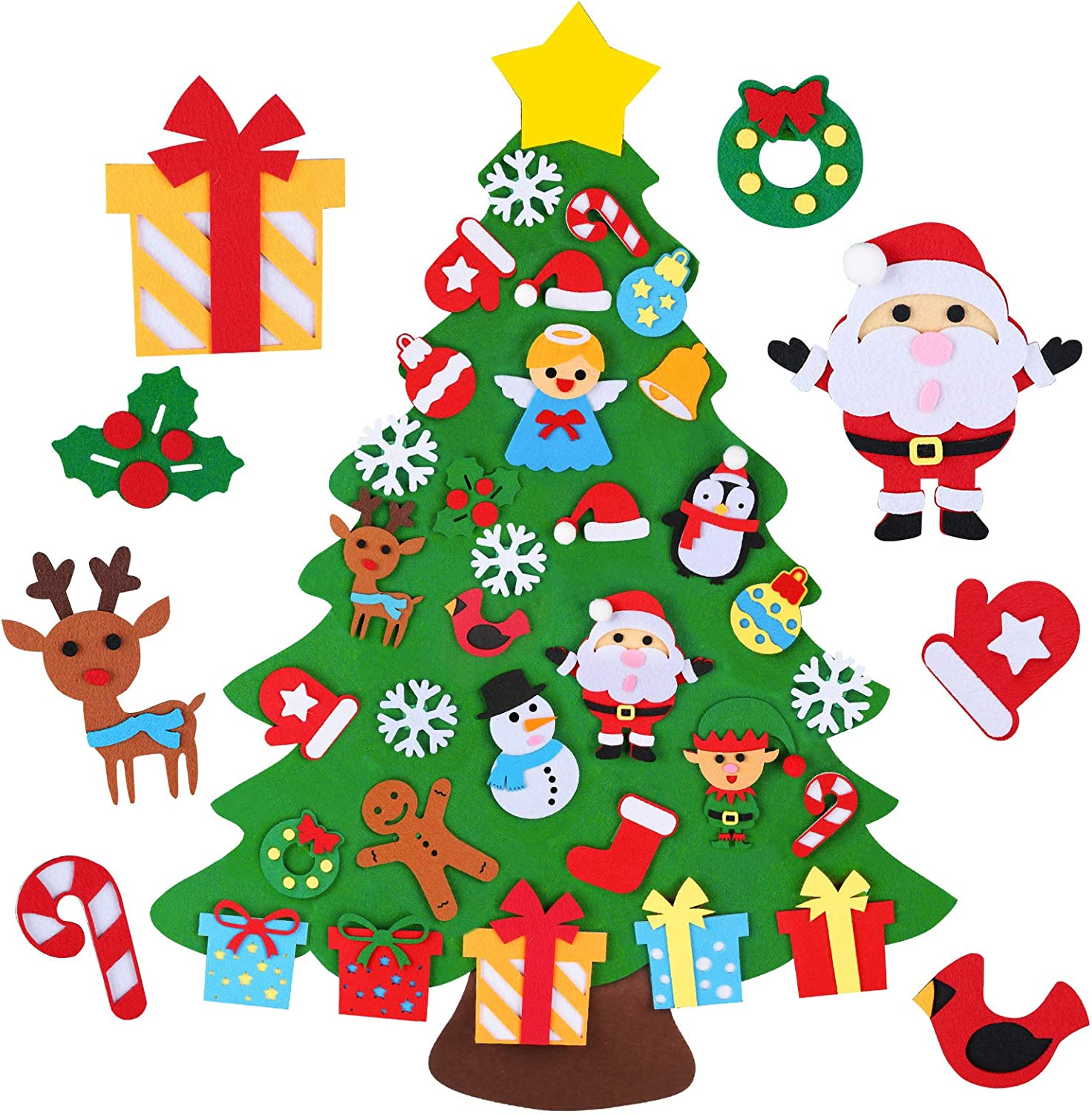 D-FantiX DIY Felt Christmas Tree for Toddlers to Decorate 3.1FT 3D Kids Christmas Tree Set with 32pcs Detachable Ornaments Home Door Wall Hanging Xmas Decorations Gift