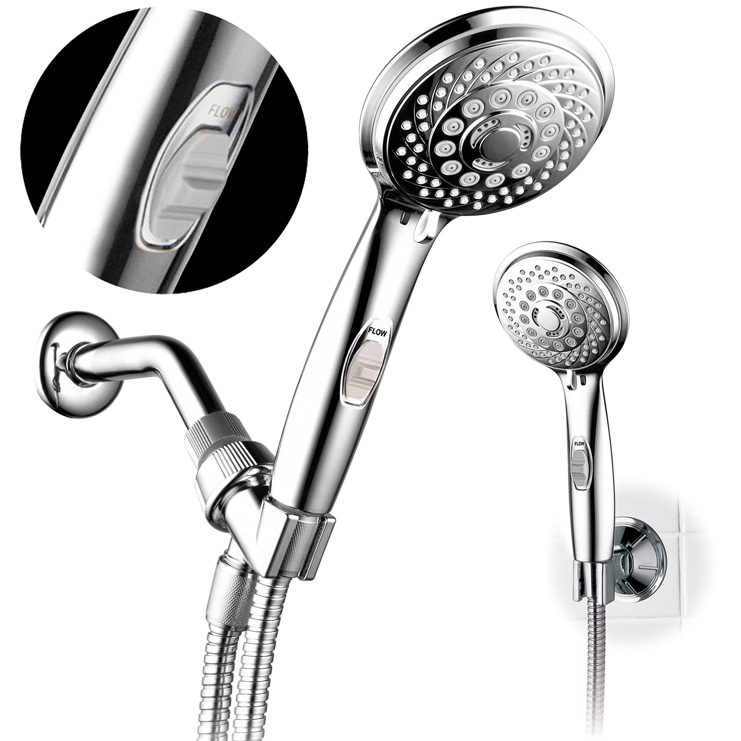 HotelSpa 7-setting AquaCare Series Spiral Handheld Shower Head Luxury  Convenience Package with Pause Switch