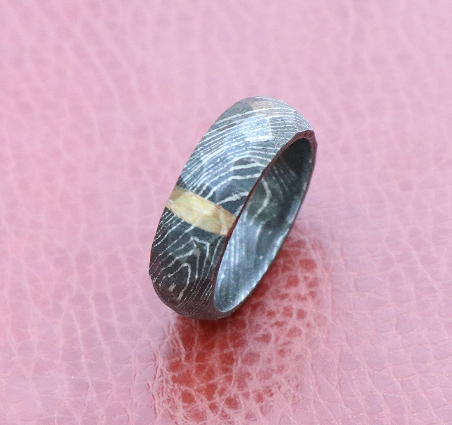 Amazon.com: Damascus Steel Ring tumble rock Genuine Craftsmanship ...
