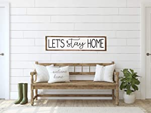 Aet3thew Wood Framed Sign 6x20'' Bible Verse Printable Wooden Prints Lets Stay Home Sign Lets Stay Home Wood Sign Living Room Wall Signs Wall Decor for Living Room Decor Living Room Sign