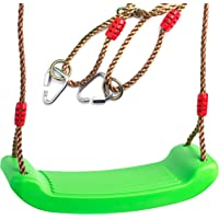 Cateam Swing seat Lime Green for Kids and Adults with Length Control Hinge - 220lb Load - Ninja line Ready - Triangle carabiners Included - Playground Swing Set Accessories Replacement