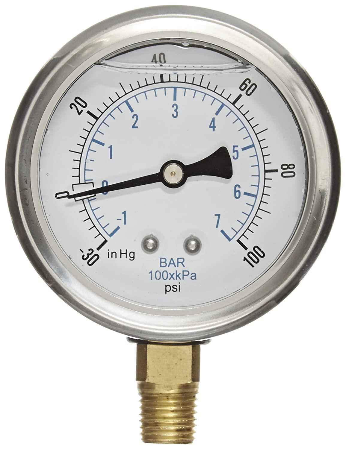 PIC Gauge PRO 201L 254CE Glycerin Filled Industrial Bottom Mount Pressure Gauge with Stainless Steel Case Brass Internals Plastic Lens 2 1 2 Dial Size 1 4 Male NPT 30 0 100 psi