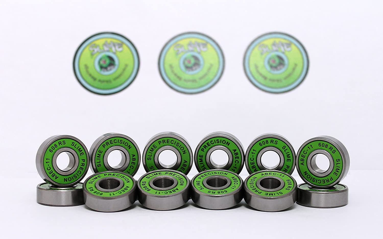 16 x GREEN SLIME - ABEC 11 608 RS Water Resistant Rubber Seal Skateboard / Stunt Scooter / Inline Skate Bearings SLIME Bearings
