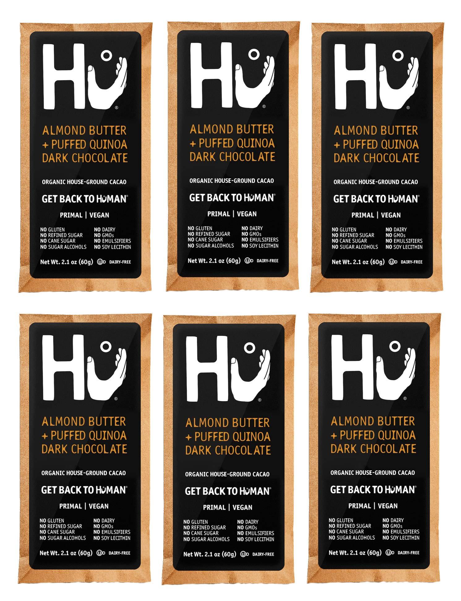 Hu Kitchen Dark Chocolate Bars, 2.1 oz, Almond Butter & Puffed Quinoa 72% Chocolate Bar (6 Pack) by Hu Kitchen