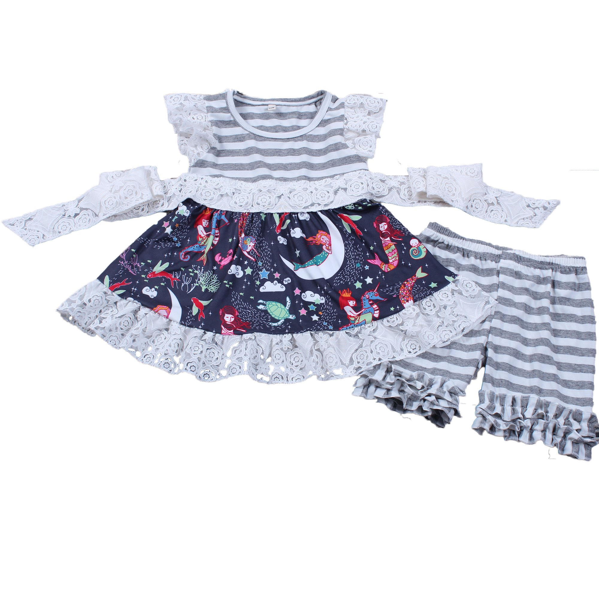 Yawoo Haan Girls Summer Top Dress Icing Shorts Set Baby Mermaid Clothes 6-7T