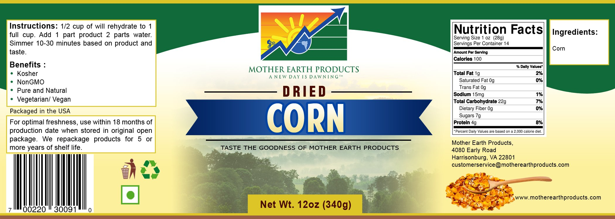Mother Earth Products Dried Corn, Quart Jar