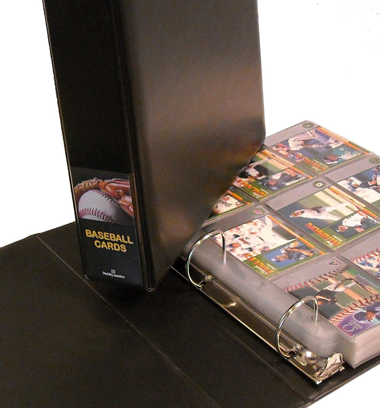 Hobbymaster Baseball Card Collector Album with 25 Pages, Black Ball-In-Glove Design