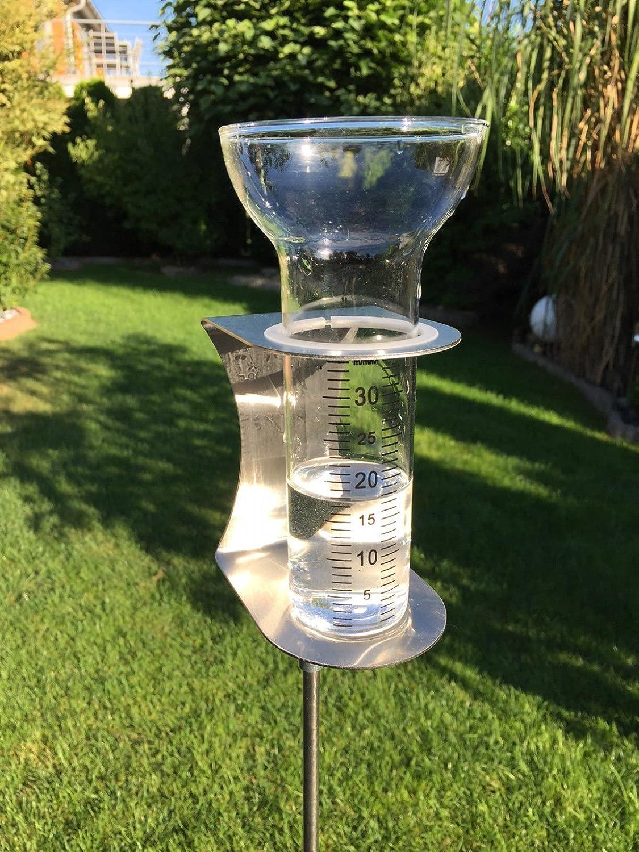 Regenmesser aus Edelstahl und Glas, 135cm hoch
