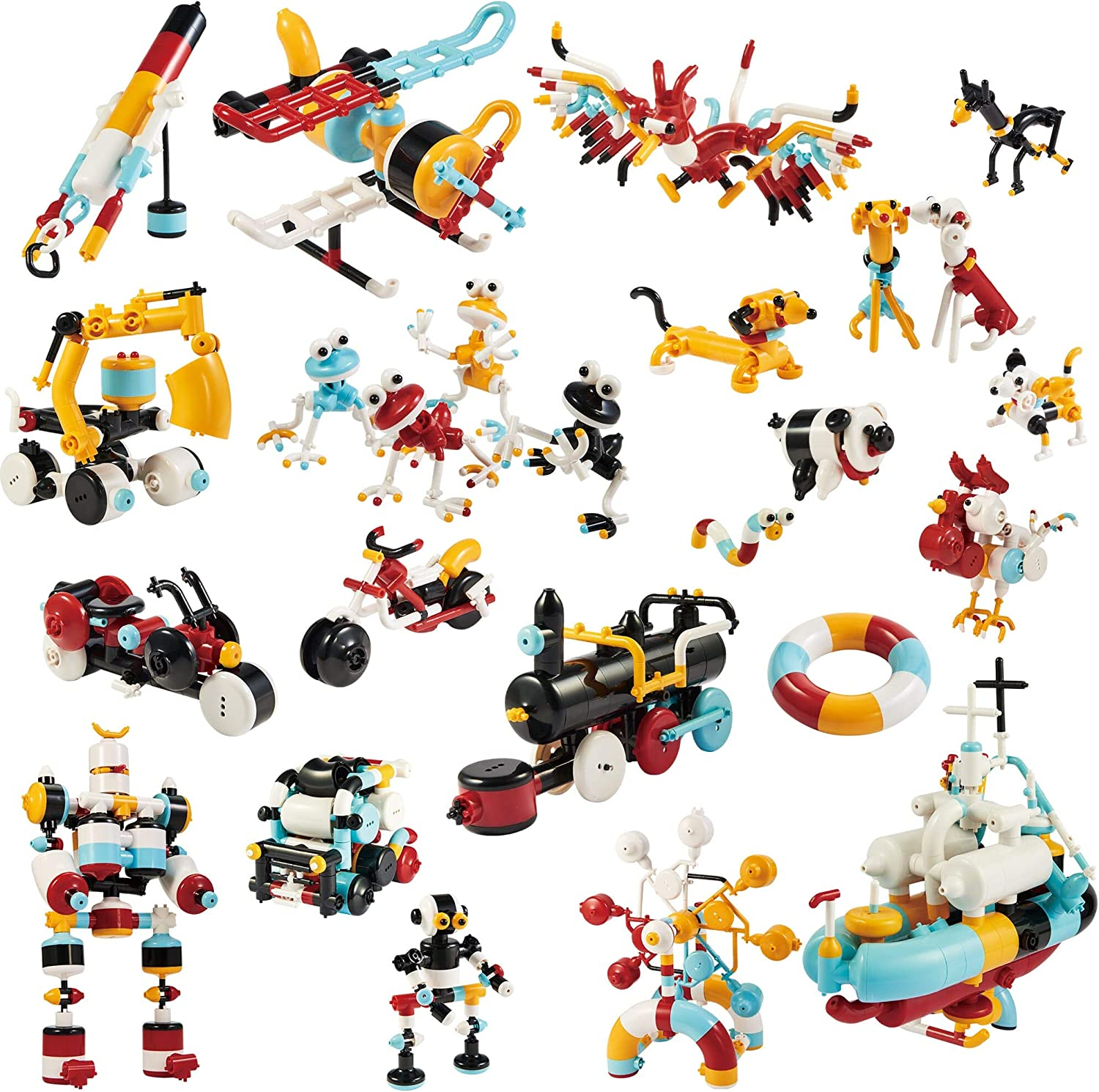 Easy Assembly - 25 Models in 1-390 Pieces Made in Japan Tublock Creative Building Brick Creator Set for Children SML 390