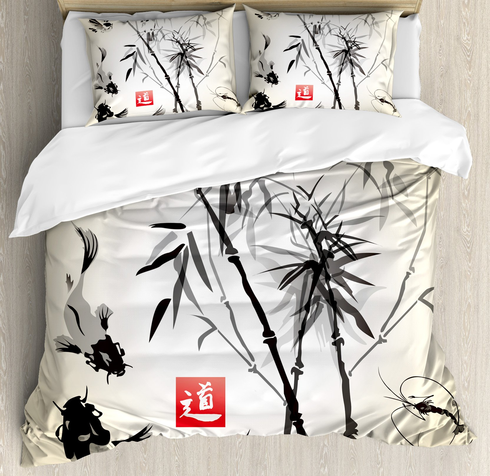 Ambesonne Japanese Duvet Cover Set King Size, Artistic Birds Fishes and Bamboo Leaves Abstract Painting Oriental Style, Decorative 3 Piece Bedding Set with 2 Pillow Shams, Black Gray Ivory