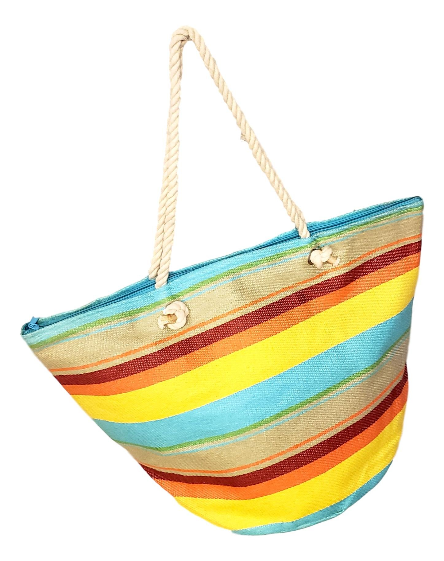 XL Hobo Bucket Striped Summer Womens Beach Bag Tote with Zipper Top (Sunset Stripe) by 101 BEACH (Image #1)