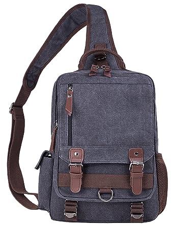 1f5e98a289 El-fmly Canvas Messenger Sling Crossbody Backpack for Men Travel Shoulder  Bag- Black
